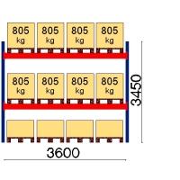 Pallställ startsektion 3450x3600 805kg/12 pallar