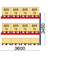Pallställ följesektion 3450x3600 805kg/12 pallar