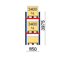 Pallställ startsektion 3975x1150 3400kg/3 pallar