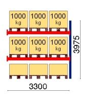 Pallställ följesektion 3975x3300 1000kg/9 pallar