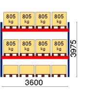 Pallställ startsektion 3975x3600 805kg/12 pallar