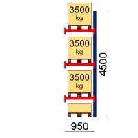 Pallställ följesektion 4500x950 3500kg/4 pallar