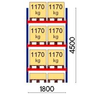 Pallställ startsektion 4500x1800 1170kg/8 pallar