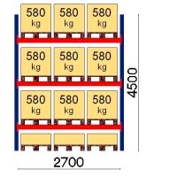 Pallställ startsektion 4500x2700 580kg/12 pallar