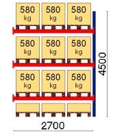 Pallställ följesektion 4500x2700 580kg/12 pallar