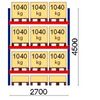 Pallställ startsektion 4500x2700 1041kg/12 pallar