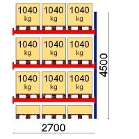 Pallställ följesektion 4500x2700 1041kg/12 pallar