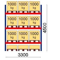 Pallställ startsektion 4500x3300 1000kg/12 pallar
