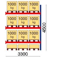 Pallställ följesektion 4500x3300 1000kg/12 pallar