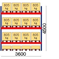 Pallställ startsektion 4500x3600 805kg/16 pallar