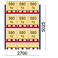 Pallställ startsektion 5025x2700 580kg/12 pallar