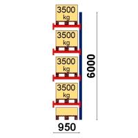Pallställ följesektion 6000x950 3500kg/5 pallar