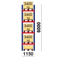 Pallställ startsektion 6000x1150 3400kg/5 pallar