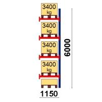 Pallställ följesektion 6000x1150 3400kg/5 pallar