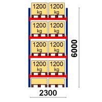 Pallställ startsektion 6000x2300 1200kg/10 pallar
