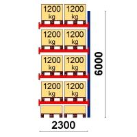 Pallställ följesektion 6000x2300 1200kg/10 pallar