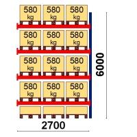 Pallställ följesektion 6000x2700 580kg/15 pallar