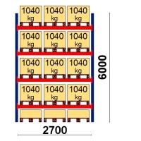 Pallställ startsektion 6000x2700 1041kg/15 pallar