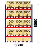 Pallställ startsektion 6000x3300 1000kg/15 pallar