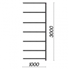 Lagerhylla följesektion 3000x1000x400 150kg/hyllplan,7 hyllor begagnad
