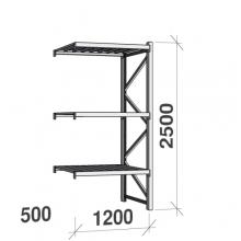 Lagerhylla följesektion 2500x1200x500 600kg/hyllplan,3 hyllor