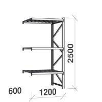 Lagerhylla följesektion 2500x1200x600 600kg/hyllplan 3 hyllor, zinkplåt