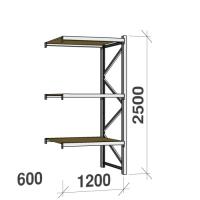 Lagerhylla följesektion 2500x1200x600 600kg/hyllplan 3 hyllor, spånskiva