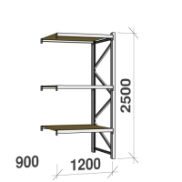 Lagerhylla följesektion 2500x1200x900 600kg/hyllplan 3 hyllor, spånskiva