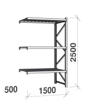 Lagerhylla följesektion 2500x1500x500 600kg/hyllplan 3 hyllor, zinkplåt