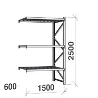 Lagerhylla följesektion 2500x1500x600 600kg/hyllplan 3 hyllor, zinkplåt