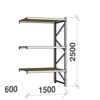 Lagerhylla följesektion 2500x1500x600 600kg/hyllplan 3 hyllor, spånskiva