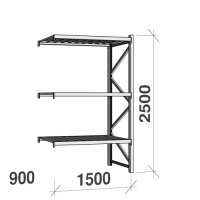 Lagerhylla följesektion 2500x1500x900 600kg/hyllplan 3 hyllor, zinkplåt