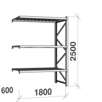 Lagerhylla följesektion 2500x1800x600 480kg/hyllplan 3 hyllor, zinkplåt
