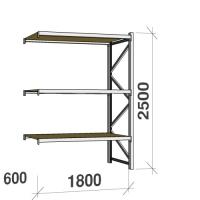 Lagerhylla följesektion 2500x1800x600 480kg/hyllplan 3 hyllor, spånskiva