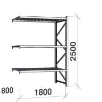 Lagerhylla följesektion 2500x1800x800 480kg/hyllplan 3 hyllor, zinkplåt