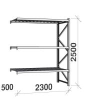Lagerhylla följesektion 2500x2300x500 350kg/hyllplan 3 hyllor, zinkplåt