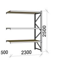 Lagerhylla följesektion 2500x2300x500 350kg/hyllplan 3 hyllor, spånskiva