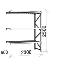 Lagerhylla följesektion 2500x2300x600 350kg/hyllplan 3 hyllor, zinkplåt