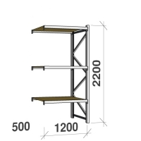 Lagerhylla följesektion 2200x1200x500 600kg/hyllplan 3 hyllor, spånskiva