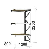 Lagerhylla följesektion 2200x1200x800 600kg/hyllplan 3 hyllor, spånskiva