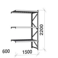 Lagerhylla följesektion 2200x1500x600 600kg/hyllplan 3 hyllor, zinkplåt