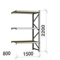 Lagerhylla följesektion 2200x1500x800 600kg/hyllplan 3 hyllor, spånskiva