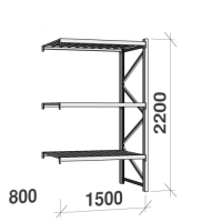 Lagerhylla följesektion 2200x1500x800 600kg/hyllplan 3 hyllor, zinkplåt
