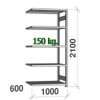 Lagerhylla följesektion 2100x1000x600 150kg/hyllplan,5 hyllor