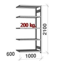 Lagerhylla följesektion 2100x1000x600 200kg/hyllplan,5 hyllor