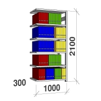 Arkivhylla följesektion 2100x1000x300 200kg/hyllplan,6 hyllor
