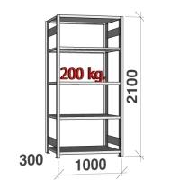 Lagerhylla startsektion 2100x1000x300 200kg/hyllplan,5 hyllor