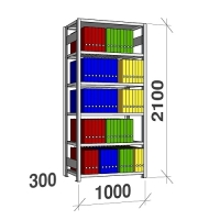 Arkivhylla startsektion 2100x1000x300 200kg/hyllplan,6 hyllor