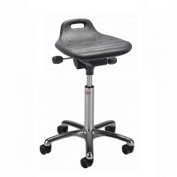 Saddle stool Omega Alu50 PU w/castors