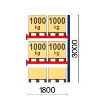 Pallställ följesektion 3000x1800 1000kg/6 pallar OPTIMA
